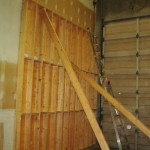 FIRST FLOOR WALL TOWARDS NORTH. PLYWOOD TOWARDS DRYWALL