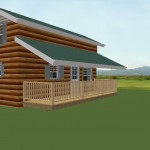 420 sqft. 2 bedroom cabin, outside wiev ,deck with roof
